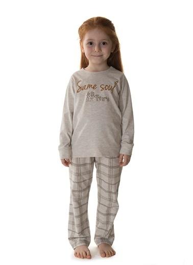 Hays Kids Kız Çocuk Ekose Desenli Pijama Takımı Bej